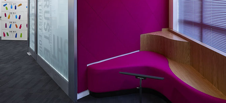 Pink acoustic wall