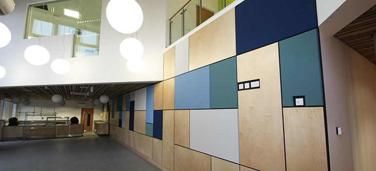 Green blue and grey wall panels at university