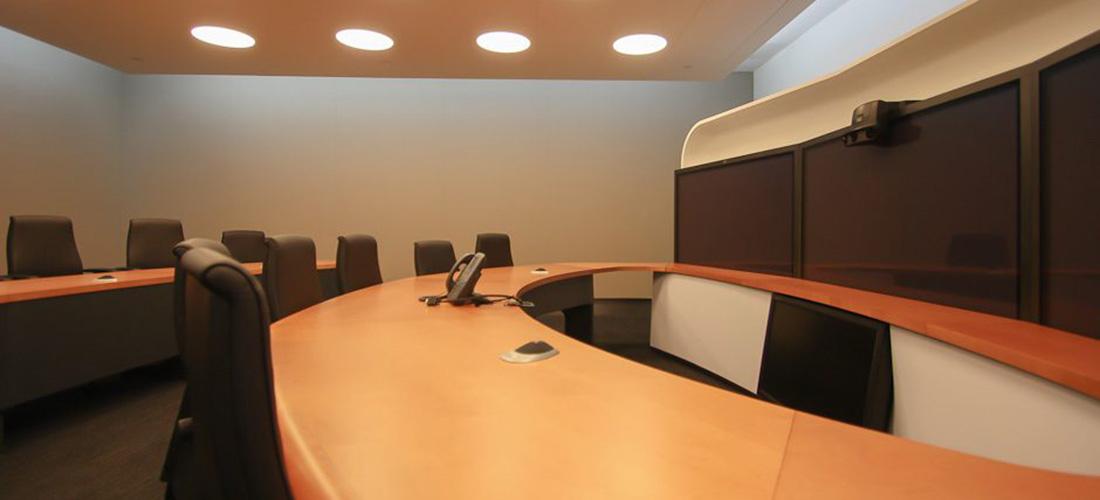AV VC room with fabric wall treatment