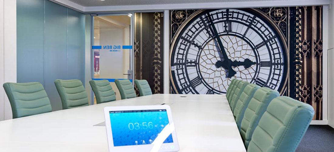 print wall in linkedin meeting room