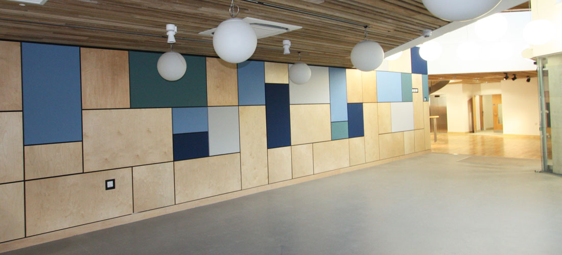 Multicoloured acoustic wall at brighton university