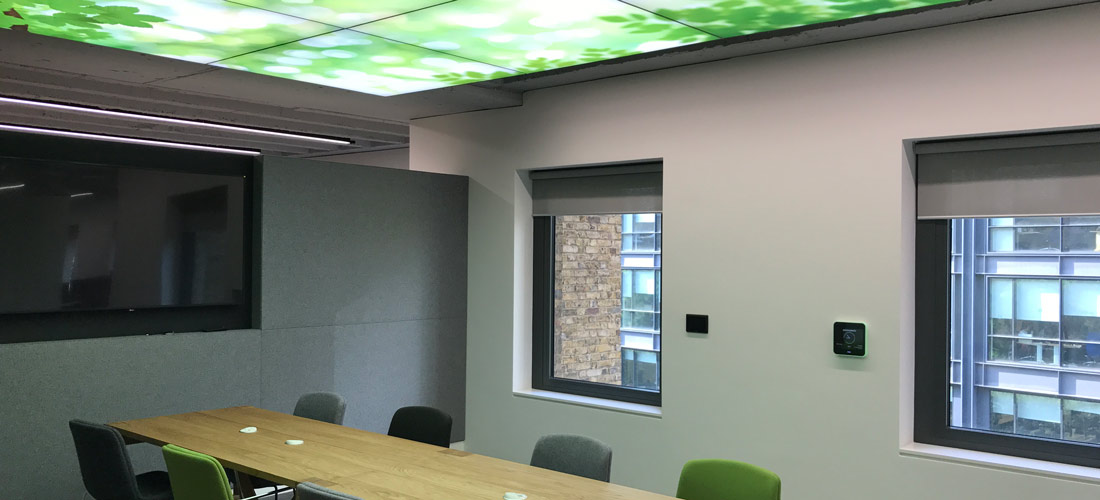 Fabric acoustic wall in conference room