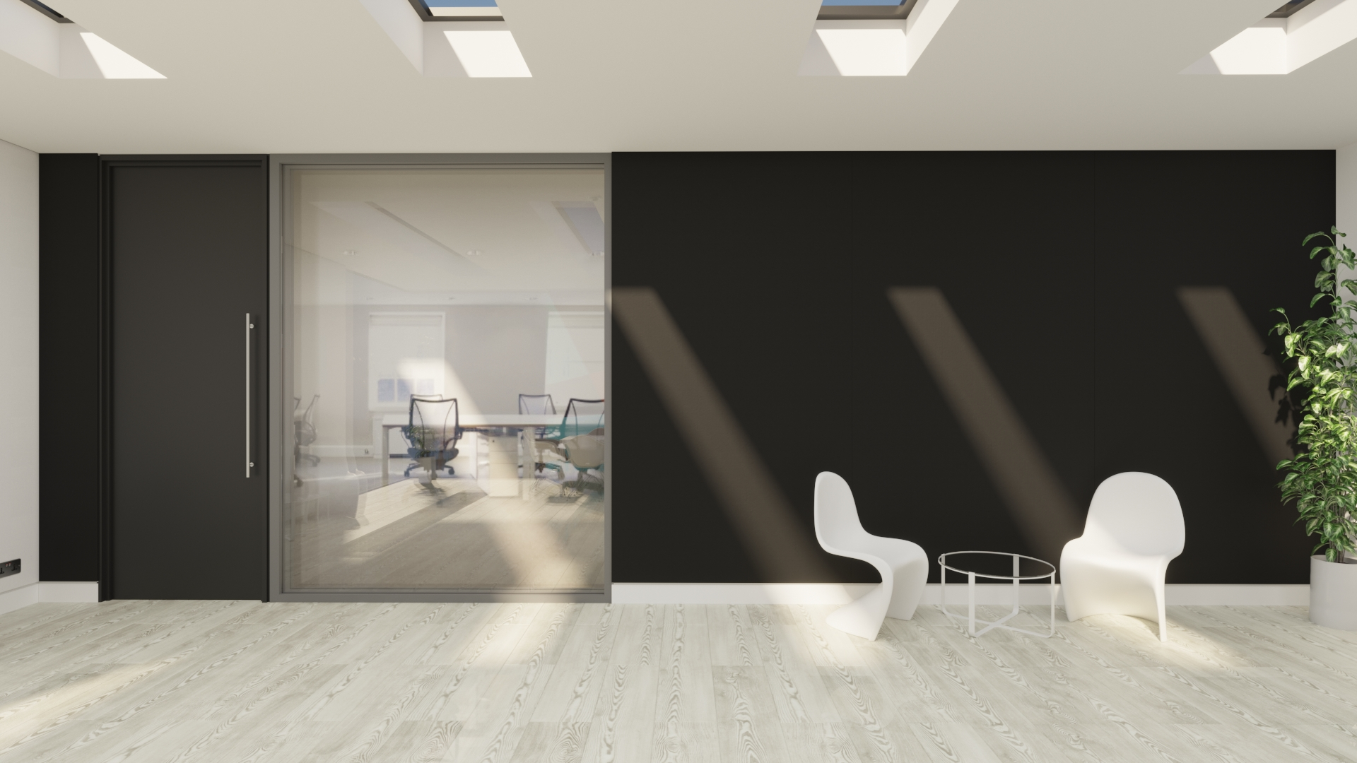 Red and grey acoustic fabric wall in meeting room